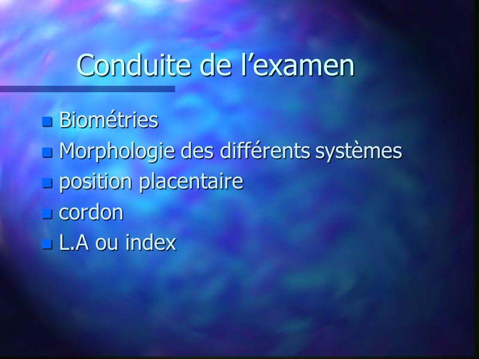 Conduite de l'examen Biométries Morphologie des différents systèmes