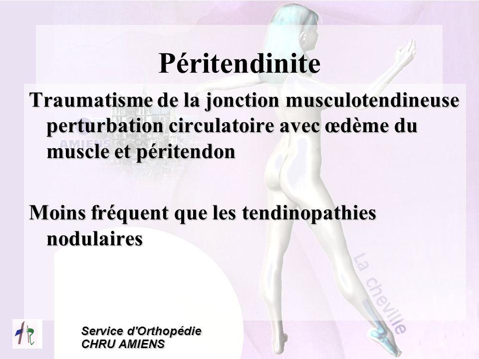 Péritendinite Traumatisme de la jonction musculotendineuse perturbation circulatoire avec œdème du muscle et péritendon.