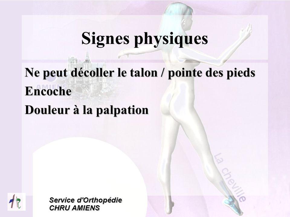 Signes physiques Ne peut décoller le talon / pointe des pieds Encoche