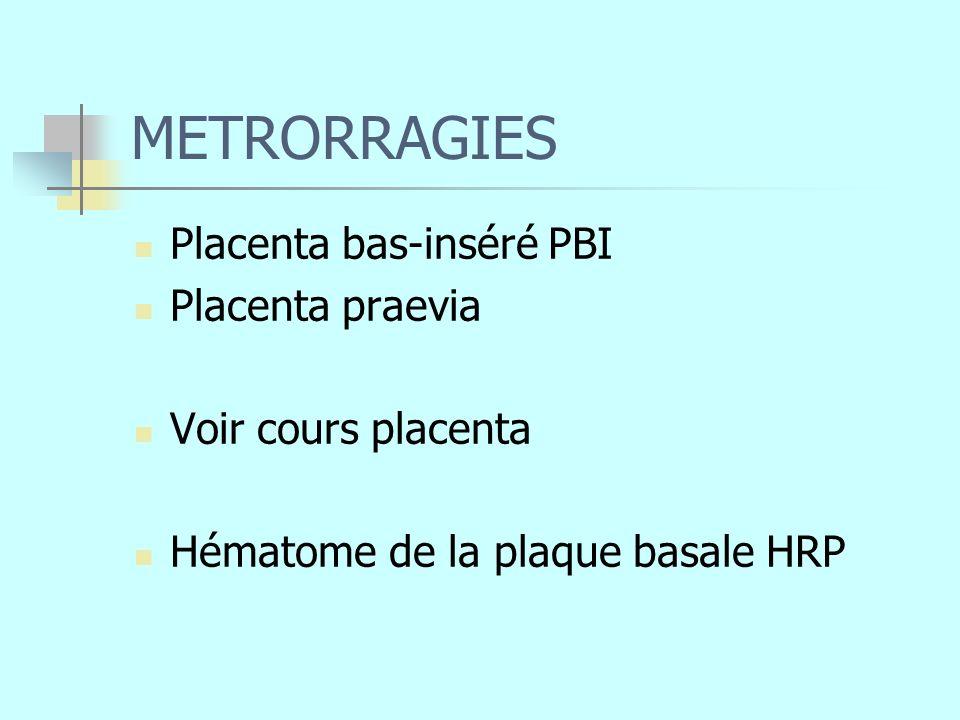 METRORRAGIES Placenta bas-inséré PBI Placenta praevia