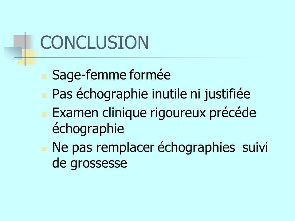 CONCLUSION Sage-femme formée Pas échographie inutile ni justifiée