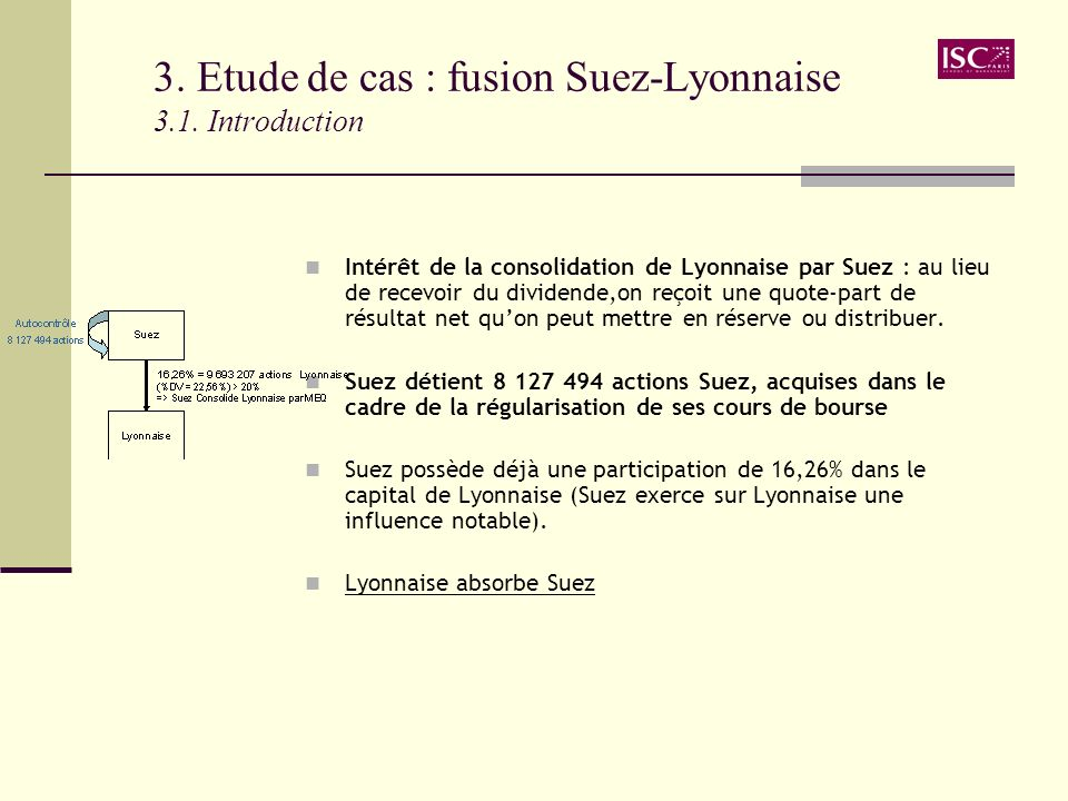 3. Etude de cas : fusion Suez-Lyonnaise 3.1. Introduction