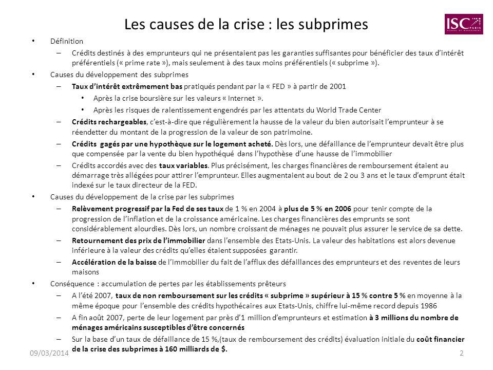 Les causes de la crise : les subprimes