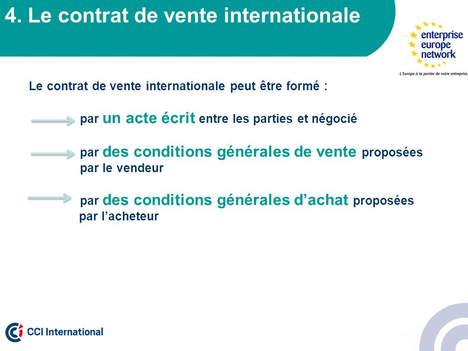 4. Le contrat de vente internationale