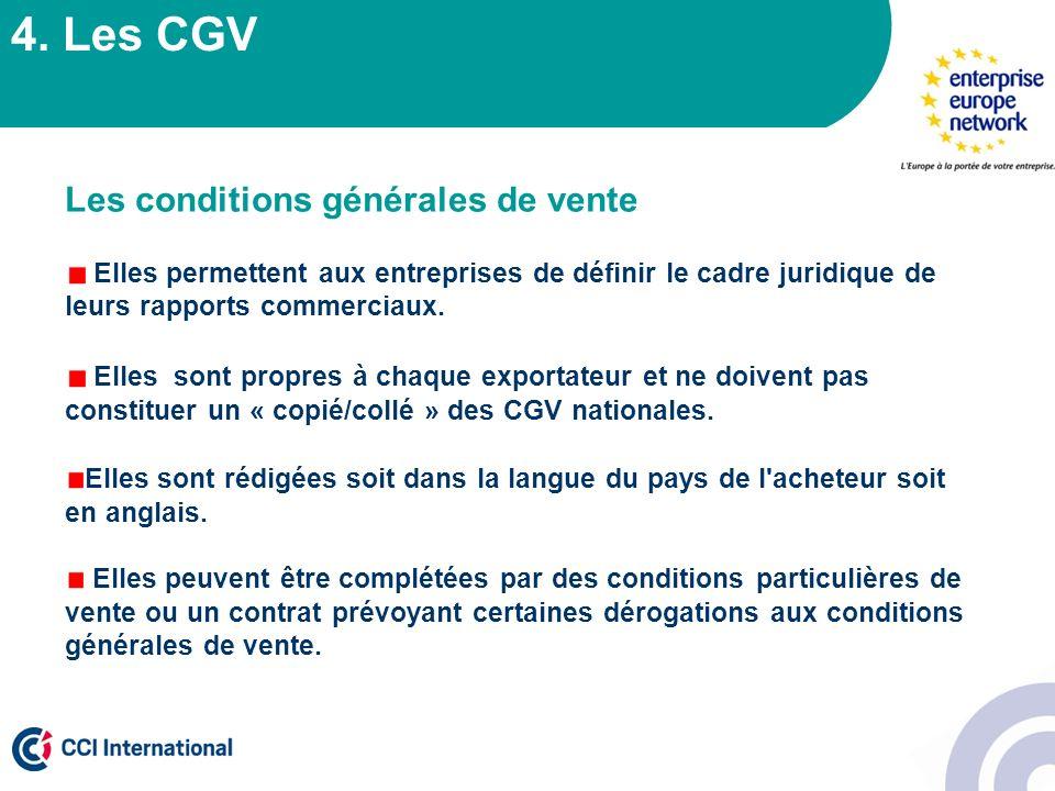 4. Les CGV Les conditions générales de vente