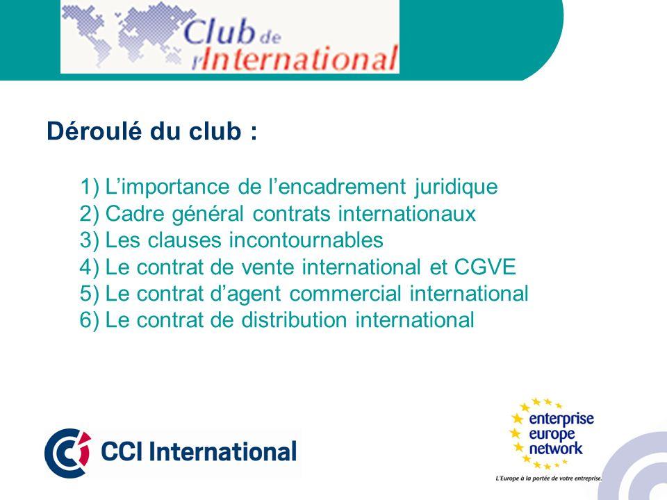 Déroulé du club : 1) L'importance de l'encadrement juridique