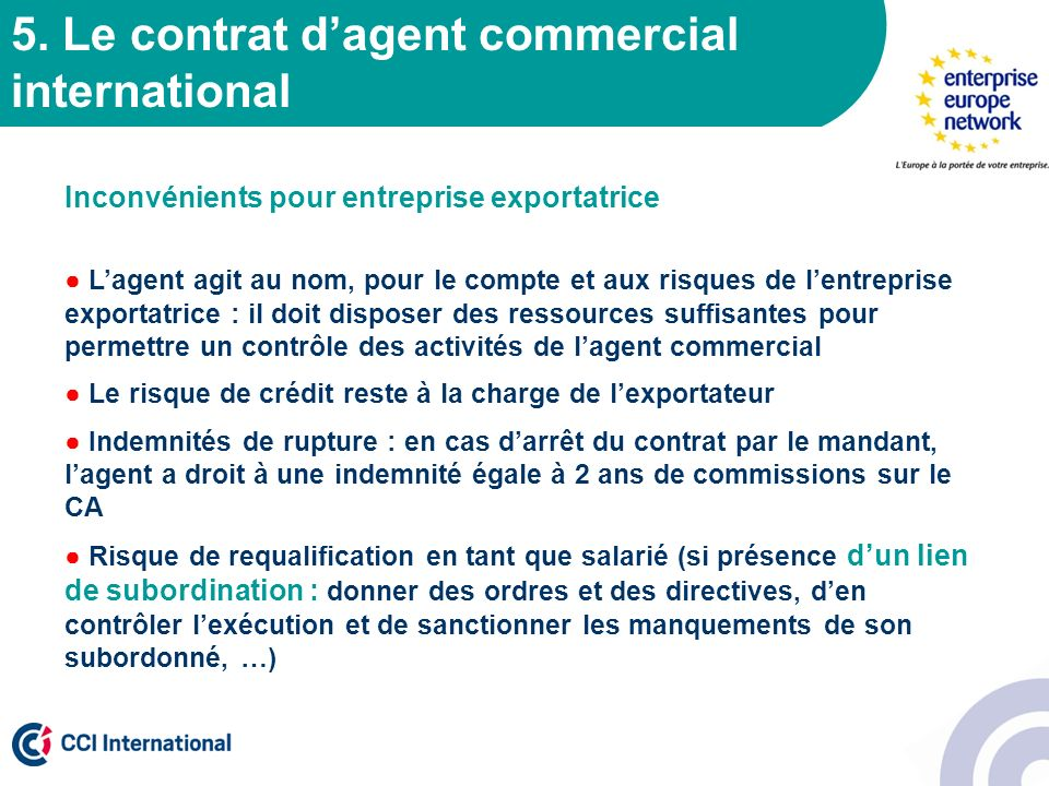 5. Le contrat d'agent commercial international