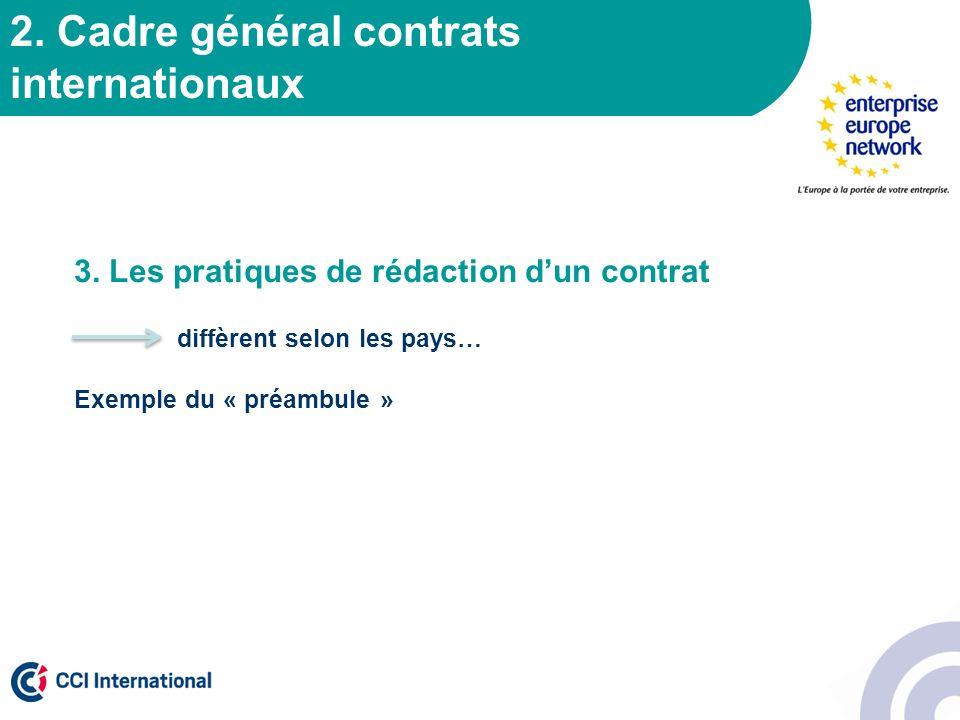 2. Cadre général contrats internationaux