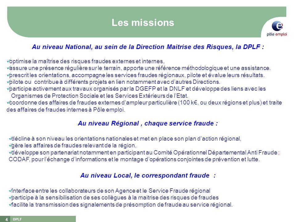 Les missions Au niveau National, au sein de la Direction Maitrise des Risques, la DPLF :