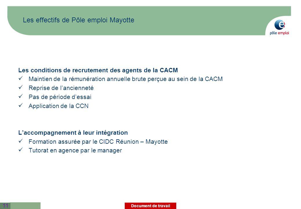 Les effectifs de Pôle emploi Mayotte