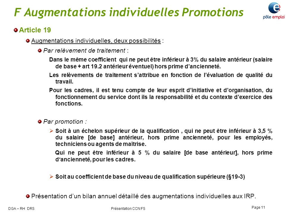 F Augmentations individuelles Promotions