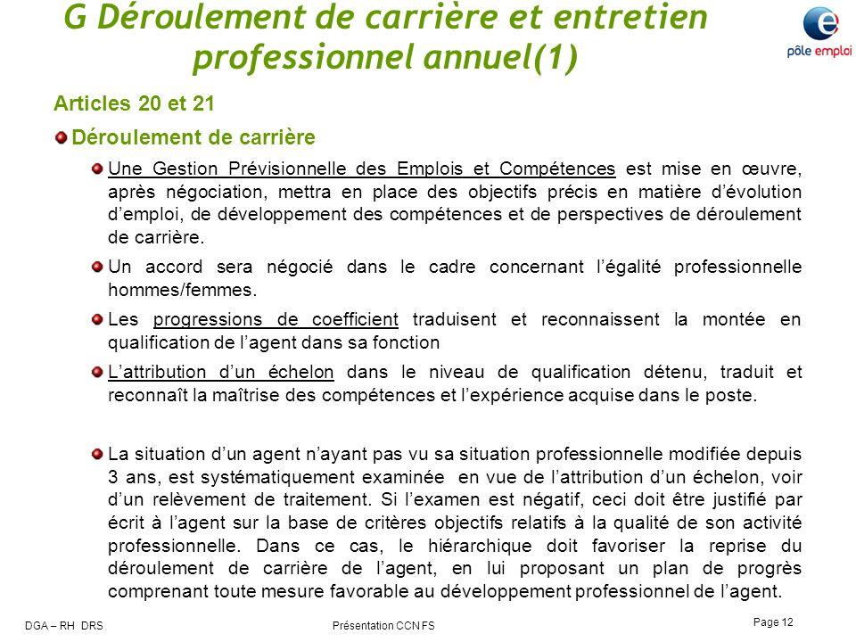 G Déroulement de carrière et entretien professionnel annuel(1)
