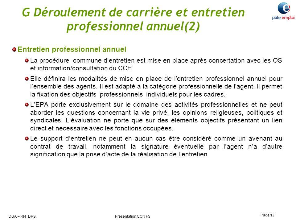 G Déroulement de carrière et entretien professionnel annuel(2)