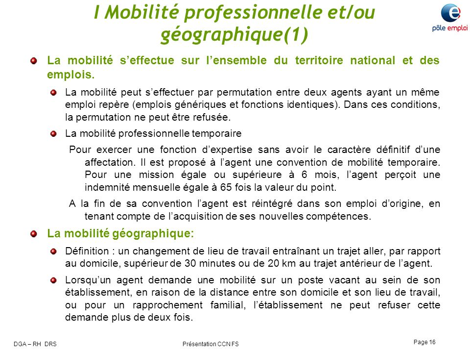 I Mobilité professionnelle et/ou géographique(1)