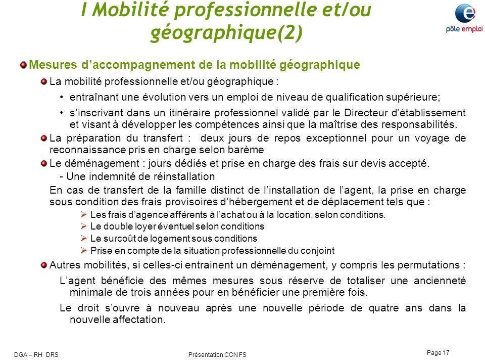 I Mobilité professionnelle et/ou géographique(2)