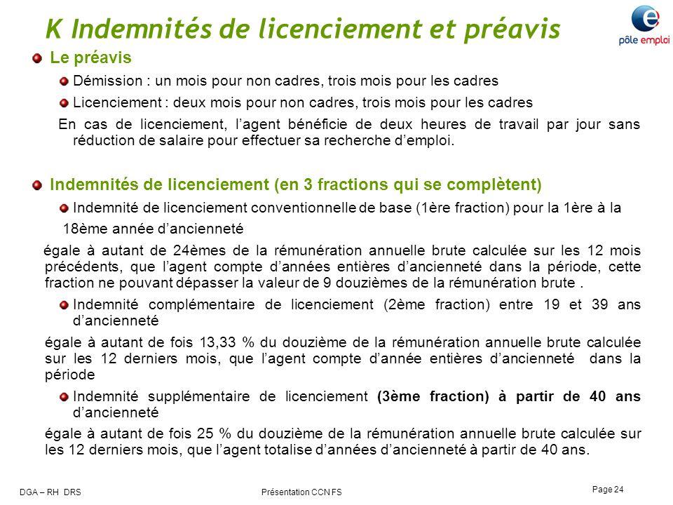 K Indemnités de licenciement et préavis