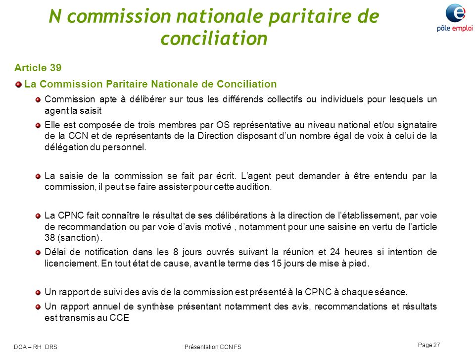 N commission nationale paritaire de conciliation