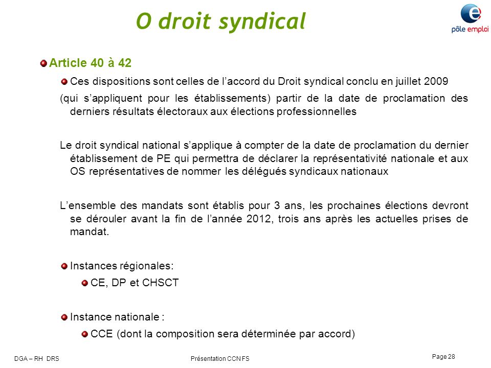 O droit syndical Article 40 à 42