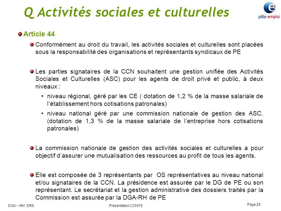 Q Activités sociales et culturelles