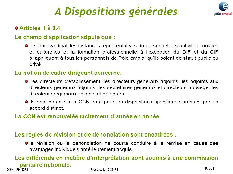A Dispositions générales
