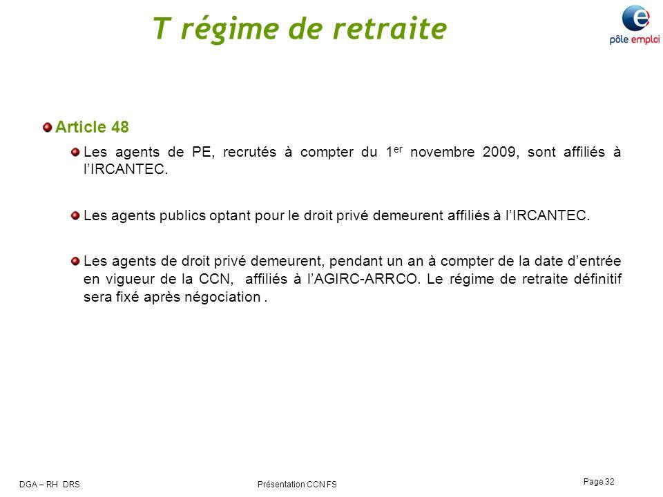 T régime de retraite Article 48