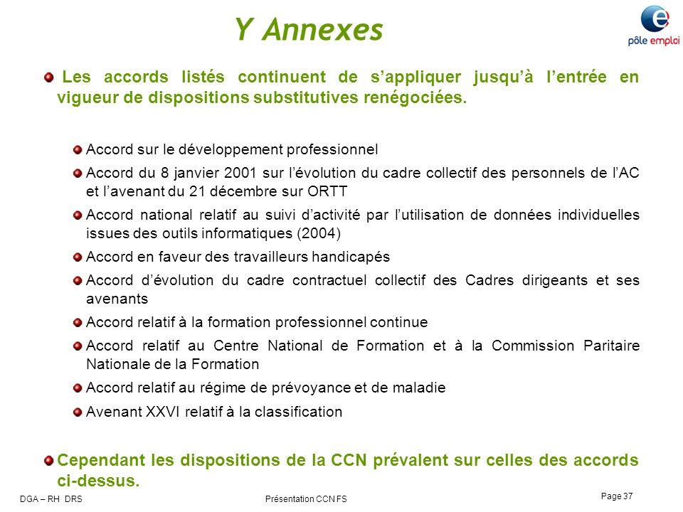 Y Annexes Les accords listés continuent de s'appliquer jusqu'à l'entrée en vigueur de dispositions substitutives renégociées.