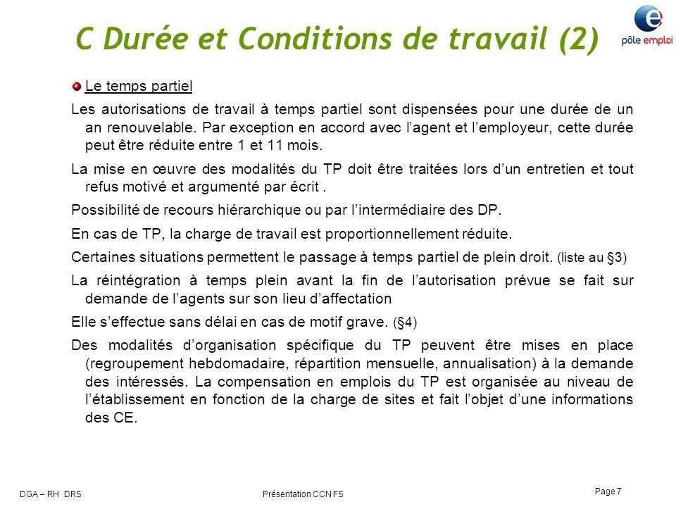 C Durée et Conditions de travail (2)