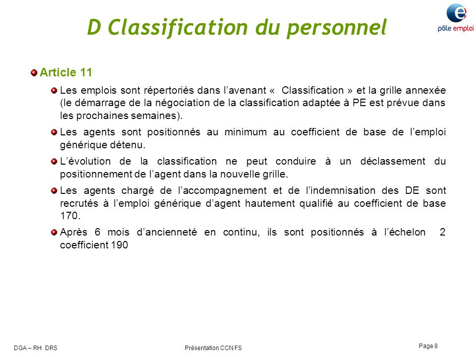 D Classification du personnel