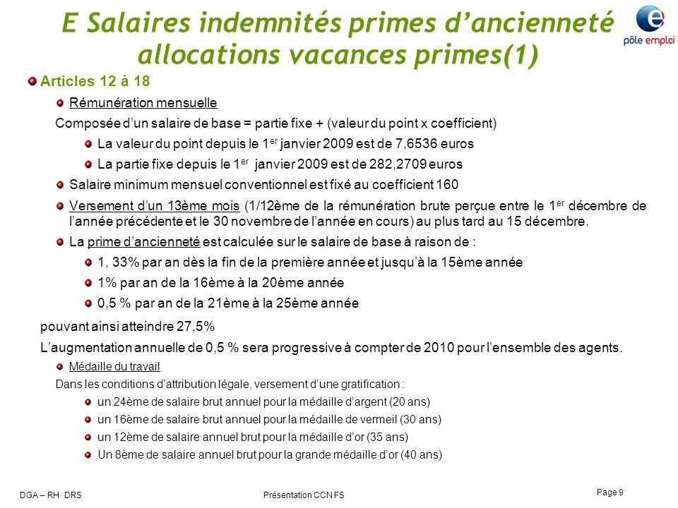 E Salaires indemnités primes d'ancienneté allocations vacances primes(1)