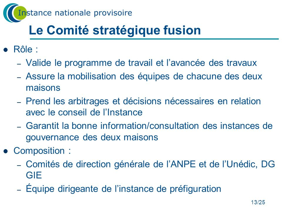 Le Comité stratégique fusion