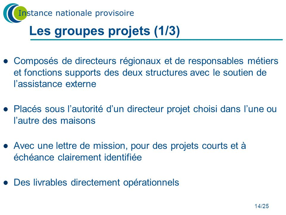 Les groupes projets (1/3)