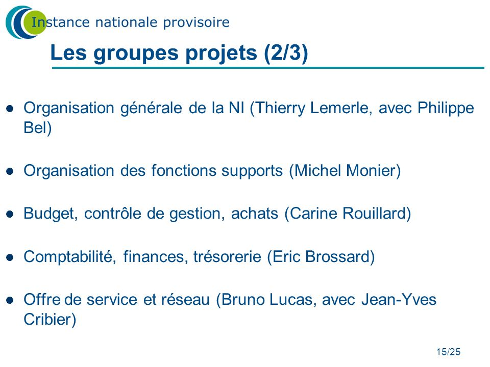 Les groupes projets (2/3)