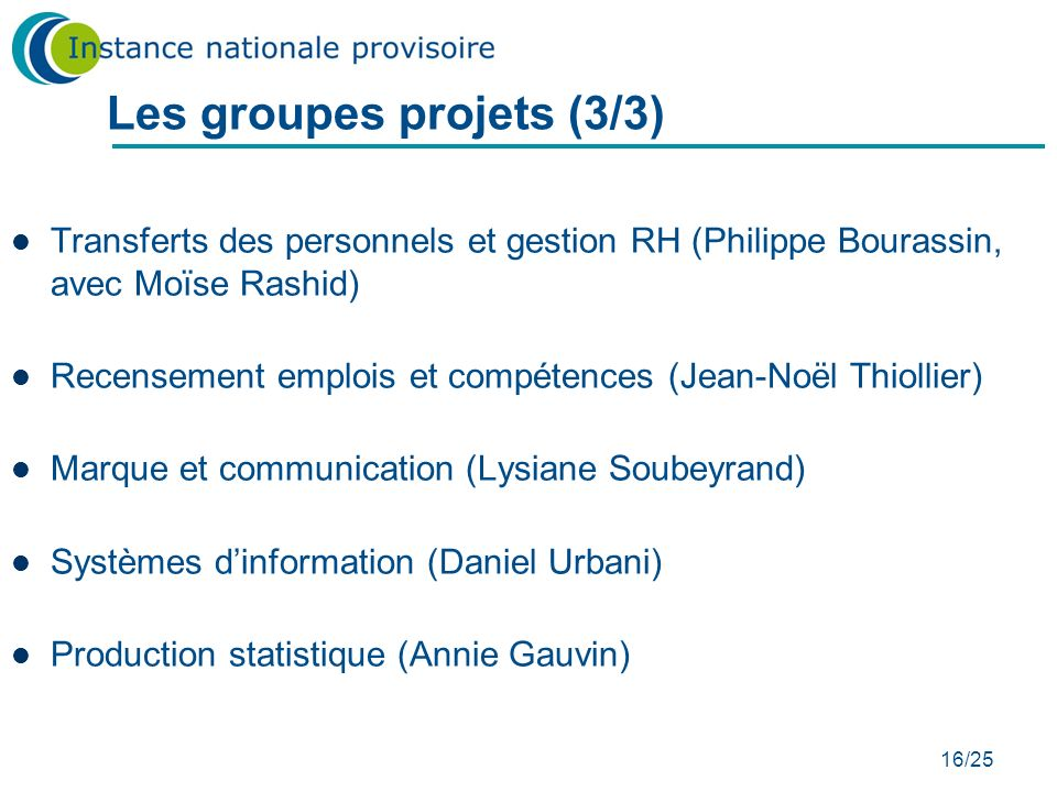Les groupes projets (3/3)