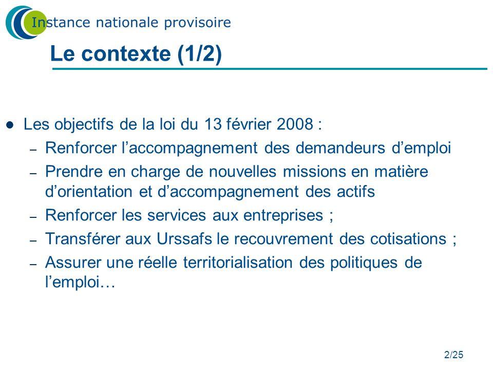 Le contexte (1/2) Les objectifs de la loi du 13 février 2008 :