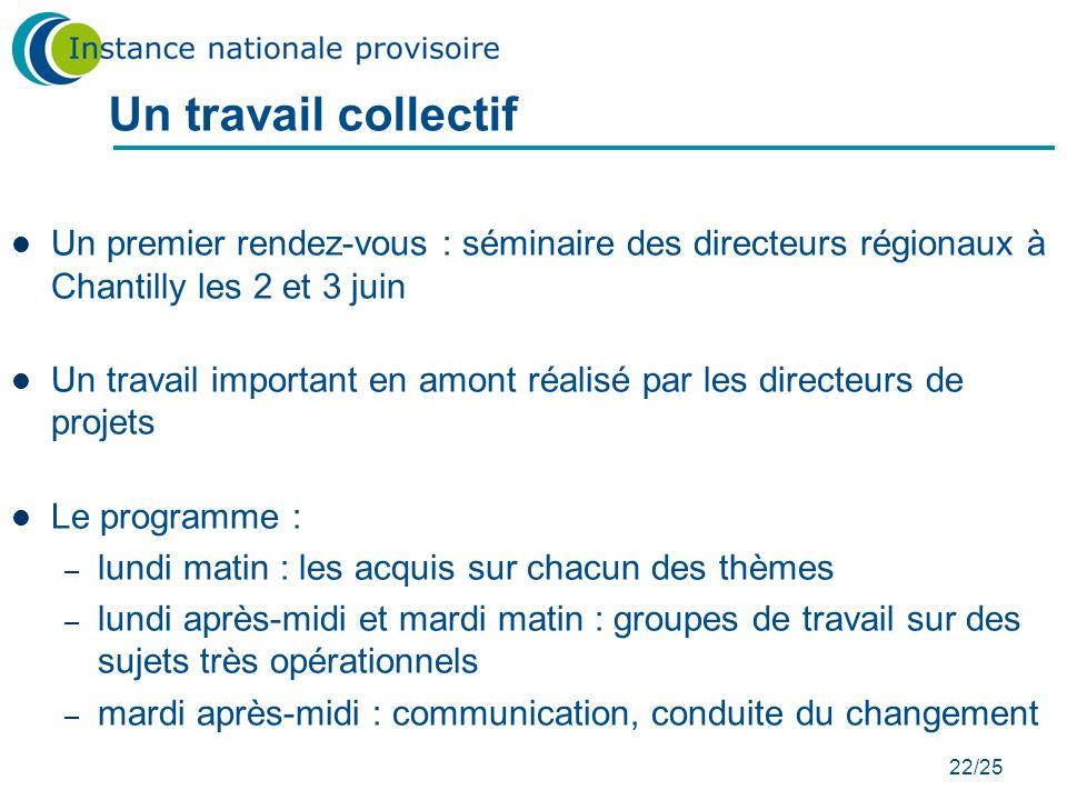 Un travail collectif Un premier rendez-vous : séminaire des directeurs régionaux à Chantilly les 2 et 3 juin.