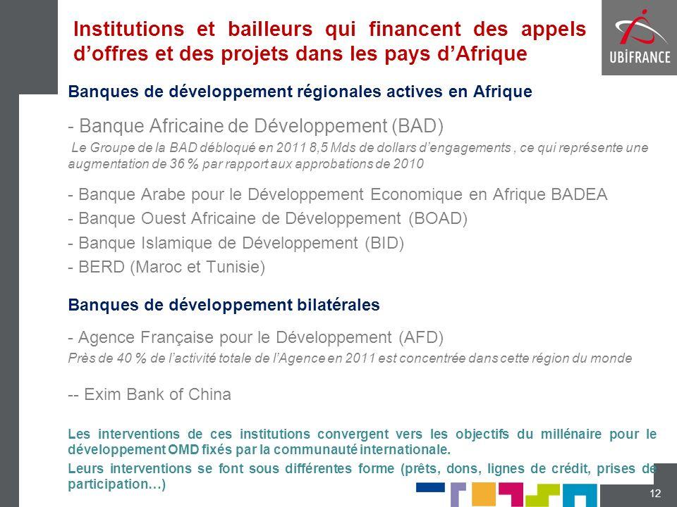 Institutions et bailleurs qui financent des appels d'offres et des projets dans les pays d'Afrique