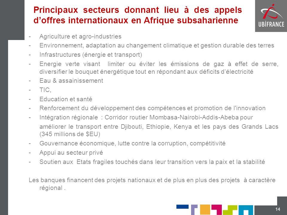 Principaux secteurs donnant lieu à des appels d'offres internationaux en Afrique subsaharienne