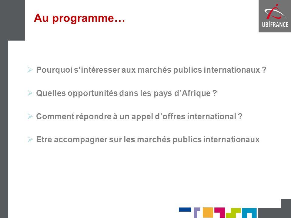 Au programme… Pourquoi s'intéresser aux marchés publics internationaux Quelles opportunités dans les pays d'Afrique