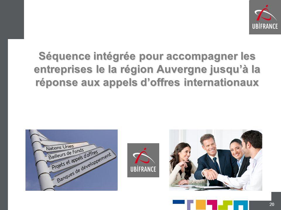 Séquence intégrée pour accompagner les entreprises le la région Auvergne jusqu'à la réponse aux appels d'offres internationaux