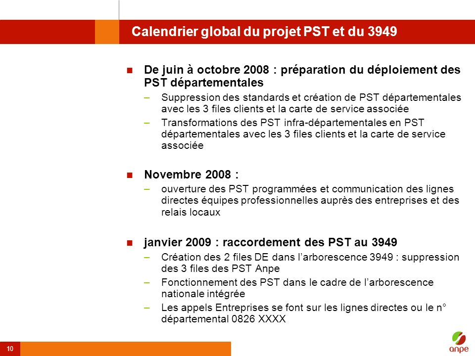 Calendrier global du projet PST et du 3949
