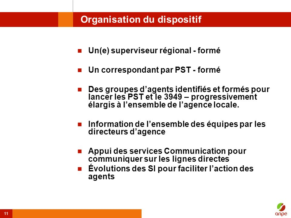 Organisation du dispositif
