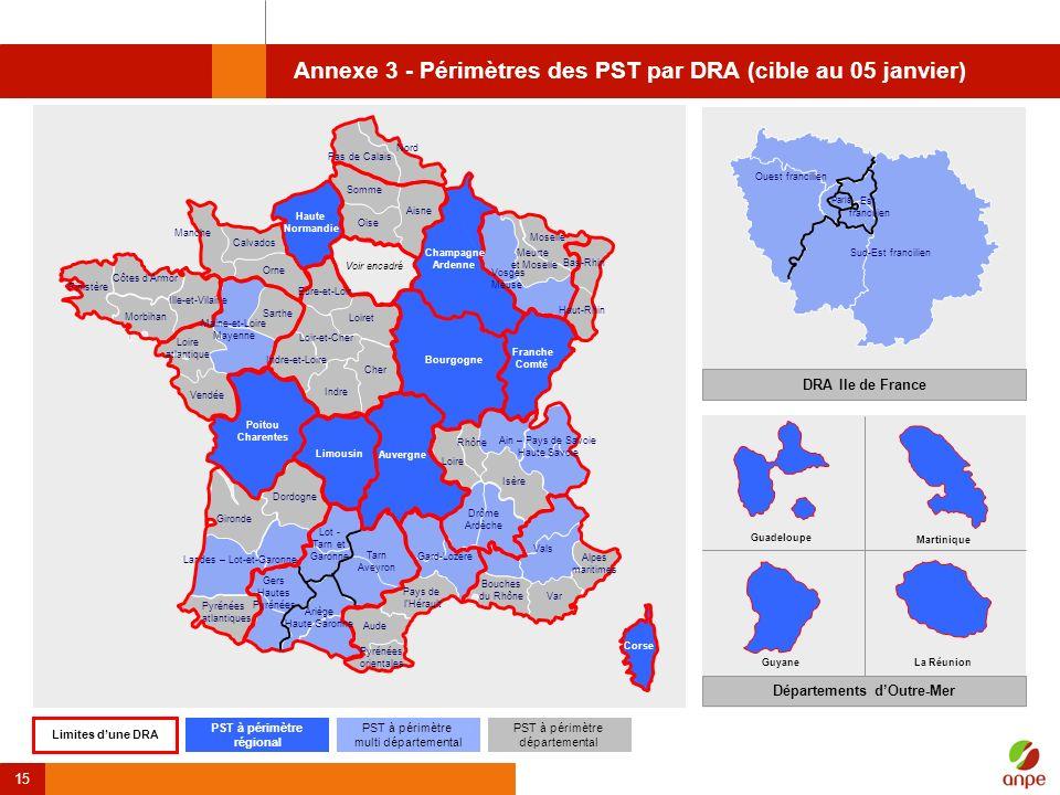 Annexe 3 - Périmètres des PST par DRA (cible au 05 janvier)