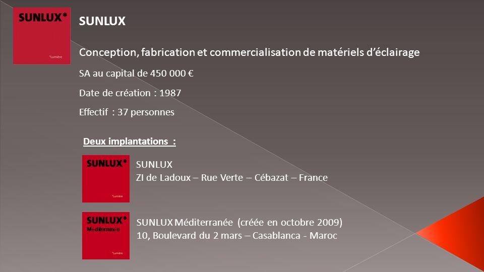 SUNLUXConception, fabrication et commercialisation de matériels d'éclairage. SA au capital de 450 000 €