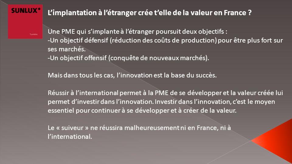 L'implantation à l'étranger crée t'elle de la valeur en France