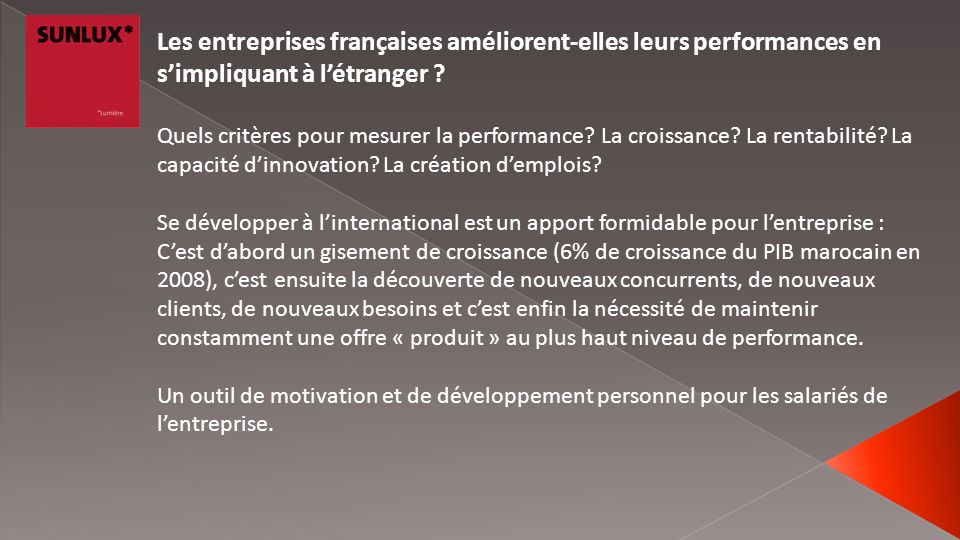 Les entreprises françaises améliorent-elles leurs performances en s'impliquant à l'étranger
