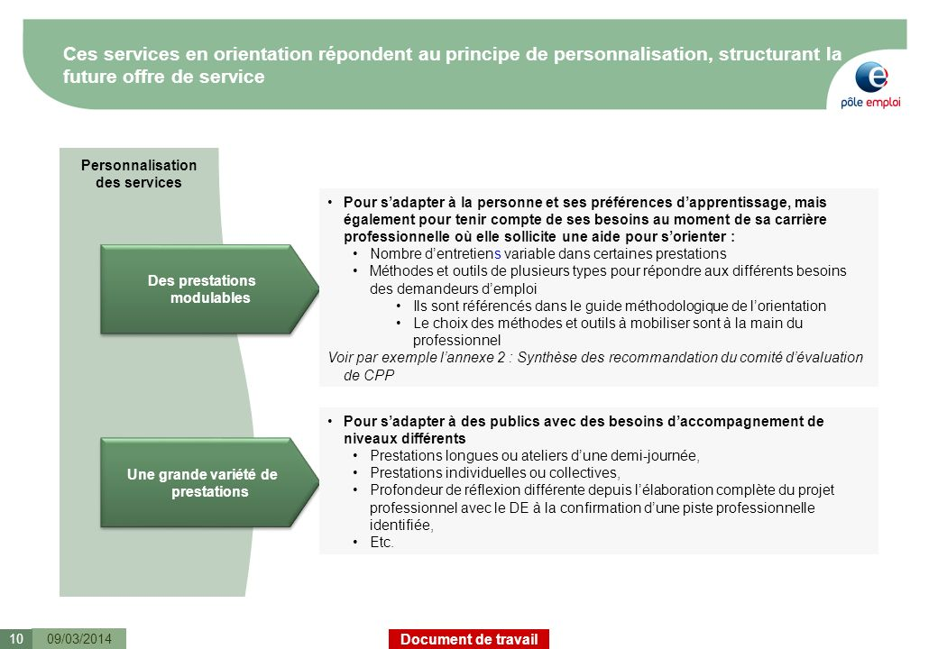 Ces services en orientation répondent au principe de personnalisation, structurant la future offre de service