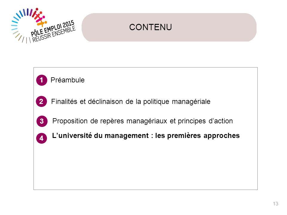 CONTENU Préambule. 1. Finalités et déclinaison de la politique managériale. 2. 3. Proposition de repères managériaux et principes d'action.