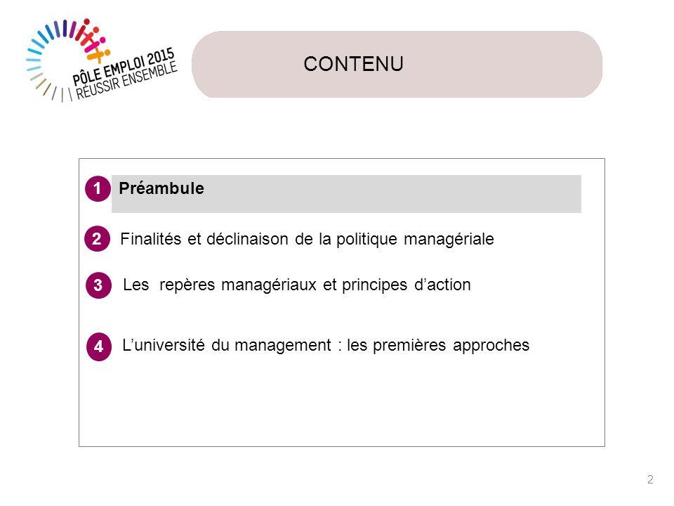 CONTENU Préambule. 1. Finalités et déclinaison de la politique managériale. 2. 3. Les repères managériaux et principes d'action.