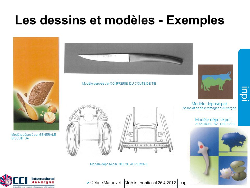 Les dessins et modèles - Exemples