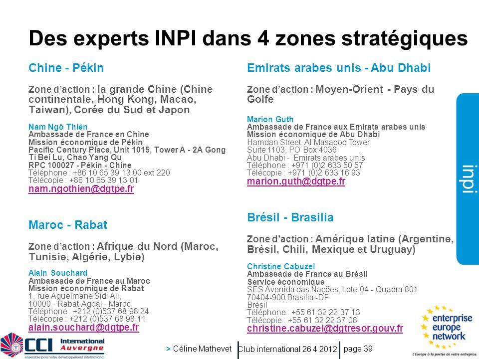 Des experts INPI dans 4 zones stratégiques